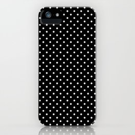 Mini Licorice Black with White Polka Dots iPhone Case