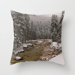 Wintry Sava River At Vrata Valley Throw Pillow