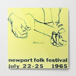 Vintage 1965 Newport, R.I. Folk Festival Advertisement Poster Metal Print