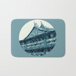 Chinese temple in the moonlight Bath Mat