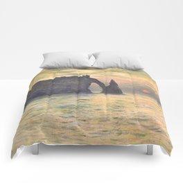 The Cliff Étretat Sunset Claude Monet Comforters