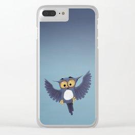 Cute little blue owl having fun. Clear iPhone Case