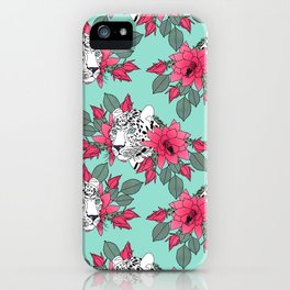 Stylish leopard and cactus flower pattern iPhone Case