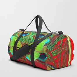 BEAUTIFUL GREEN BUTTERFLY & PEACOCK FEATHERS RED ART Duffle Bag
