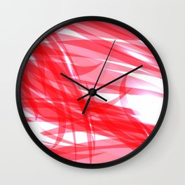 Red and smooth sparkling lines of pink ribbons on the theme of space and abstraction. Wall Clock