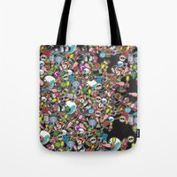 sticker Tote Bags featuring Sticker Bomb by thickblackoutline