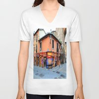 grafitti V-neck T-shirts featuring Grafitti on Elvira Street by Simon Ede Photography