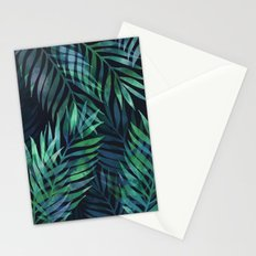 Dark green palms leaves pattern Stationery Cards