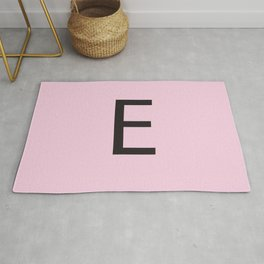 Letter E Initial Monogram - Black on Cherry Blossom Rug
