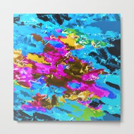 psychedelic splash painting abstract texture in blue pink yellow brown green Metal Print