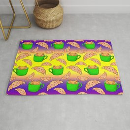 Cute happy playful funny Kawaii baby kittens sitting in little green espresso coffee cups, sweet adorable yummy croissants cartoon colorful sunny yellow purple red design. Rug