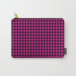 PreppyPatterns™ - Cosmopolitan Houndstooth - black and magenta pink Carry-All Pouch