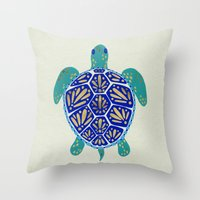 turtle Throw Pillows featuring Sea Turtle by Cat Coquillette