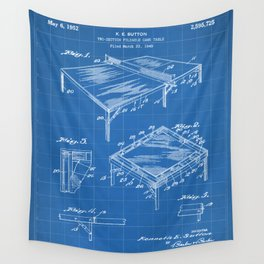 Table Tennis Patent - Tennis Art - Blueprint Wall Tapestry