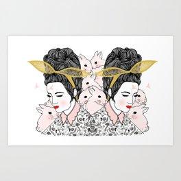 Bunny Girls - Fashion Illustration By Chrissy Lau Art Print