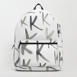Watercolor K's - Grey Gray Backpack