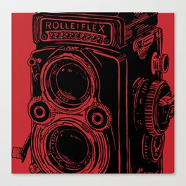 Vintage Rolleiflex (Red/ Black) Canvas Print