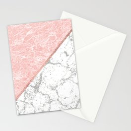 Geometrical pastel gray coral rose gold marble Stationery Cards