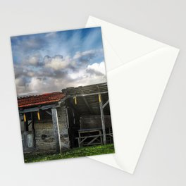 An old hut in a green field Stationery Cards