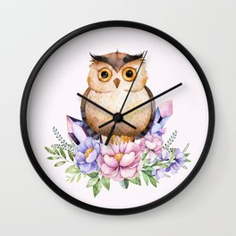 Bohomian Animal Illustration- Be Wise Little Owl Wall Clock