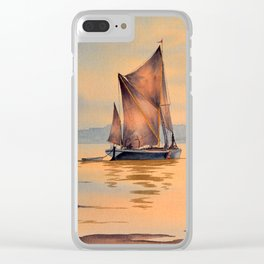 Barges On The River Thames Greenwich London Clear iPhone Case