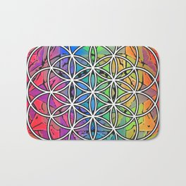Flower of Life Sacred Geometry Mandala Color 1 Bath Mat