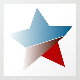 Ombre red white and blue star Art Print