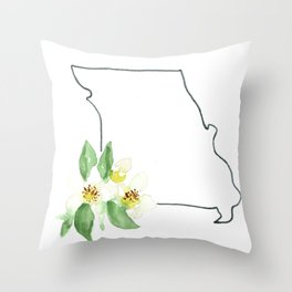 Missouri watercolor state flower Throw Pillow