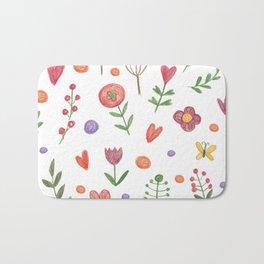 Cute hand drawn flowers pattern Bath Mat
