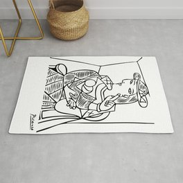 Pablo Picasso Seated Woman Artwork, Posters, Prints, TShirts, Reproduction Sketch, Men, Women, Kids Rug