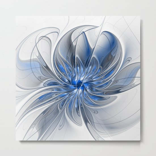 Abstract Art with Blue Metal Print