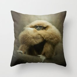 Study of a Gibbon - The Thinker Throw Pillow