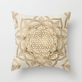 Flower of Life in Lotus - pastel golds and canvas Throw Pillow