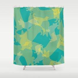 Blue & Yellow Corgi Pattern Shower Curtain