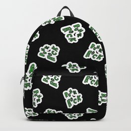 Cute punk rock text background pattern. Backpack