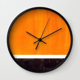 Minimalist Mid Century Modern Color Block Pop Art Rothko Inspired Golden Yellow Black Squares Wall Clock
