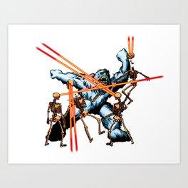 Yeti vs. Laser Skeletons Art Print