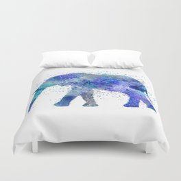 Blue Watercolor Elephant Duvet Cover