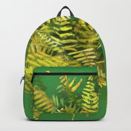 Golden Fern, Floral Painting Green Yellow  Backpack