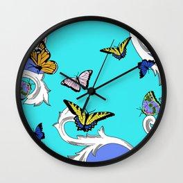 BUTTERFLIES IN FLIGHT PATTERN by gail sarasohn Wall Clock