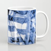 bands Mugs featuring Blue Bands by Motif Mondial