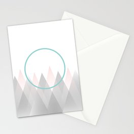 Minimal Abstract Graphic Mountains Circle Blue Pink Gray Stationery Cards