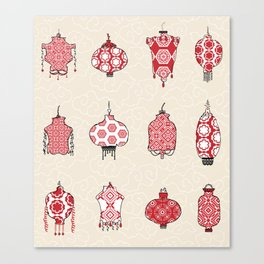Chinese Lanterns Doodle Canvas Print
