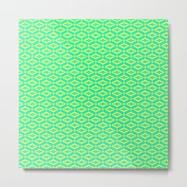 Turquoise Mint Green and Butter Cream Yellow Saloon Molding Country Design Pattern Metal Print