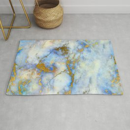 Art Deco Marble With Gold Veins on Aqua-Blue Rug
