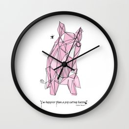 """I'm happier than a pig eating bacon!"" - Lemony Snicket - Wall Clock"