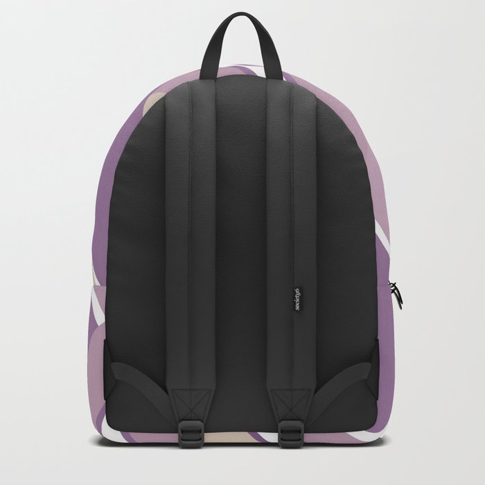 Abstraction . Light lilac pink stripe combo pattern . Backpack