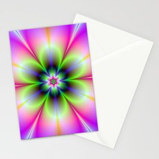 Neon Flower in Green and Pink Stationery Cards