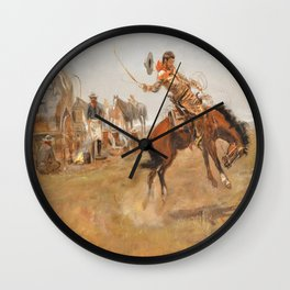 C.M. Russell Vintage Western Rider Of The Rough String Wall Clock