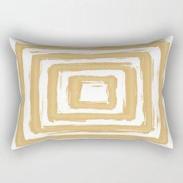 Minimal Gold Square Brush Stroke Pattern Rectangular Pillow